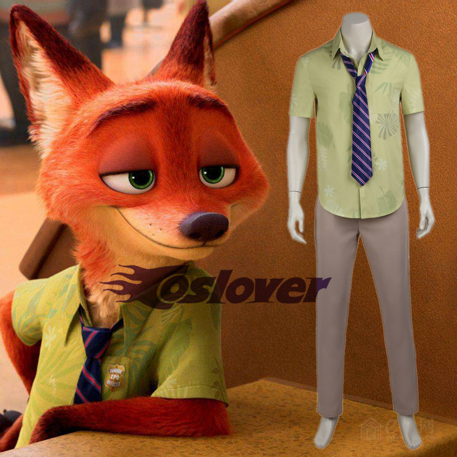 Zootopia Fox Nick Wilde/'s Daily Clothing Cosplay Uniform T-Shirt and Tie Adult
