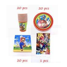 61 pçs/lote Super Mario Tema Descartável Copo de Mesa Prato Guardanapo Crianças Favores da Festa de Aniversário Decoração Suprimentos Conjuntos de Toalha de Mesa