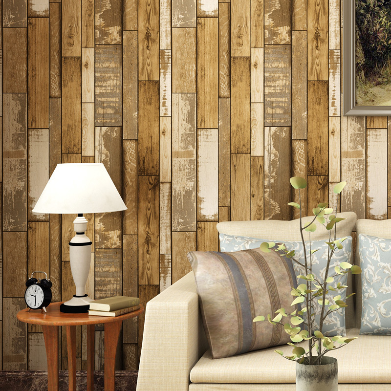 Beibehang Chinese retro imitation wood wallpaper to do the old imitation wood texture coffee shop bar clothing store wallpaper