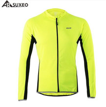 ARSUXEO Men's Spring Summer Long Sleeve Cycling jersey Bike Bicycle MTB Outdoor Sportswear Clothing Shirt-Fluorescent