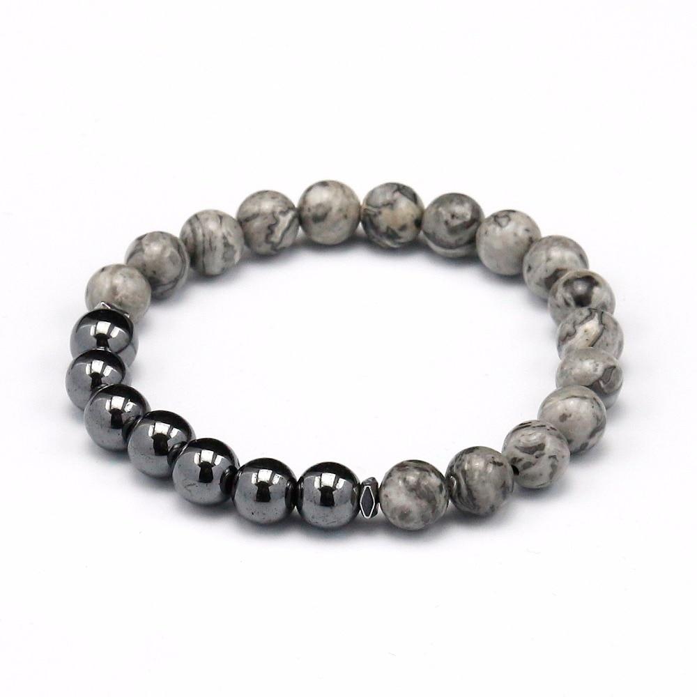 Hot Selling Wholesale Hematite With Grey Stone Popular New Pattern Bead Bracelets Jewelry for Men Charm BraceleT