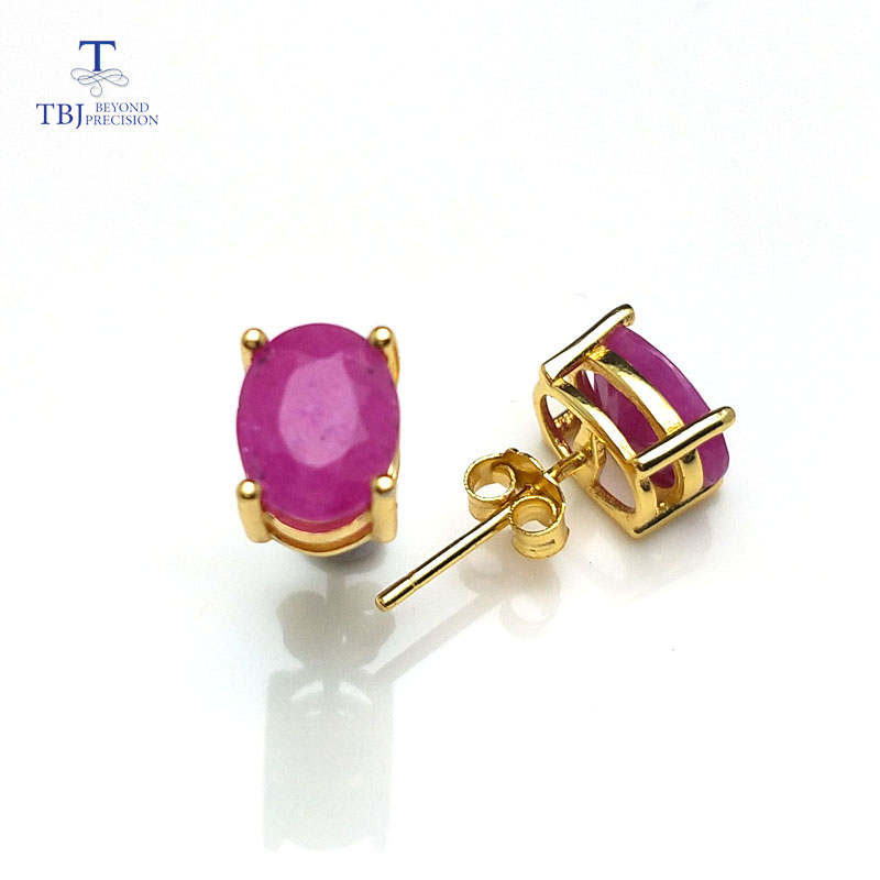 TBJ, 천연 루비 보석 심플 & 클래식 디자인 귀걸이 925 스털링 실버 옐로우 골드 컬러 여자와 여자를위한 최고의 선물