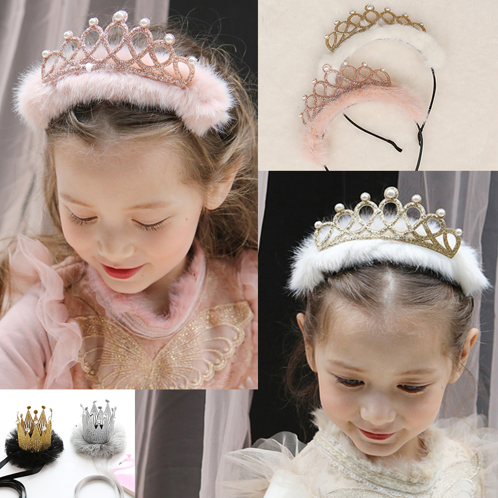 Glitter Baby Kids Girls Infant Princess Pearl Crown Headband Hair Band Jewelry