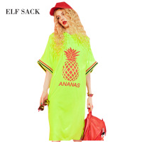 ELF SACK Kawaii Solid Mid Long Dress Women Loose Plus Size XXL Summer Casual Dresses One