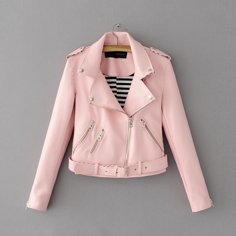 Fashion mandarin collar womens jackets black pink white leather ...