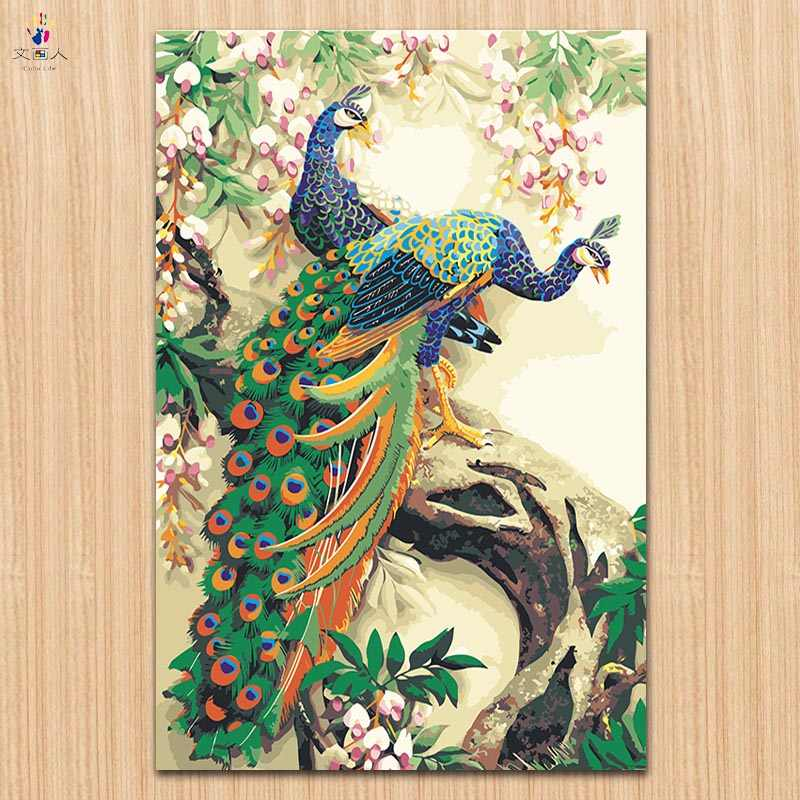 diy paints by numbers chinese Classical peacock pictures paintings by numbers animals on canvas drawing with kits for hoom