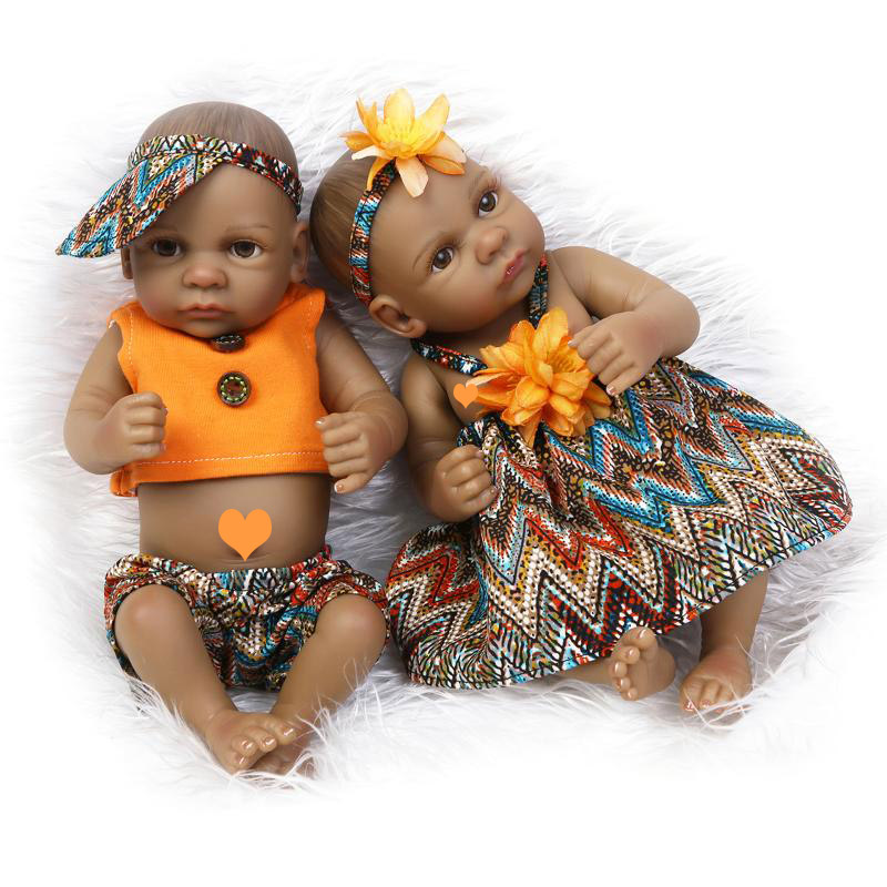 NPK 25cm Reborn Baby Doll Soft Silicone Reborn Baby Doll Black Brother And Sister With Orange Shirt Toys For Children Birthday