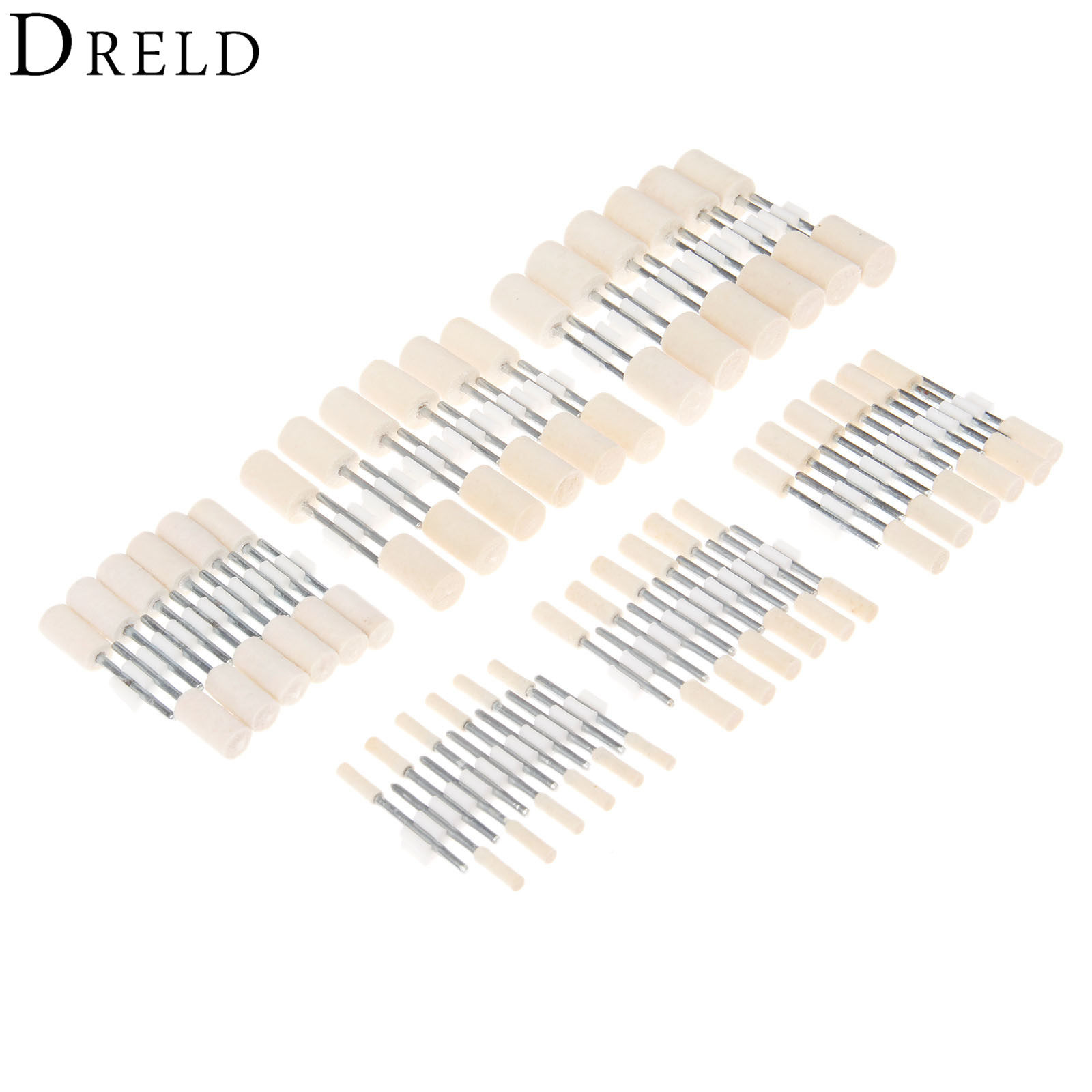 DRELD 12Pcs Dremel Accessories Wool Grinding Head Jewelry Metal Surface Buffing Polishing Wheel For Rotary Tools 2.35mm Shank