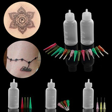 dd15f7027fb6a1 1 zestaw Henna wklej butelka dysza porady zestaw tatuaż czapki aplikator  rysunek dla farba do malowania ciała narzędzie do tworz.