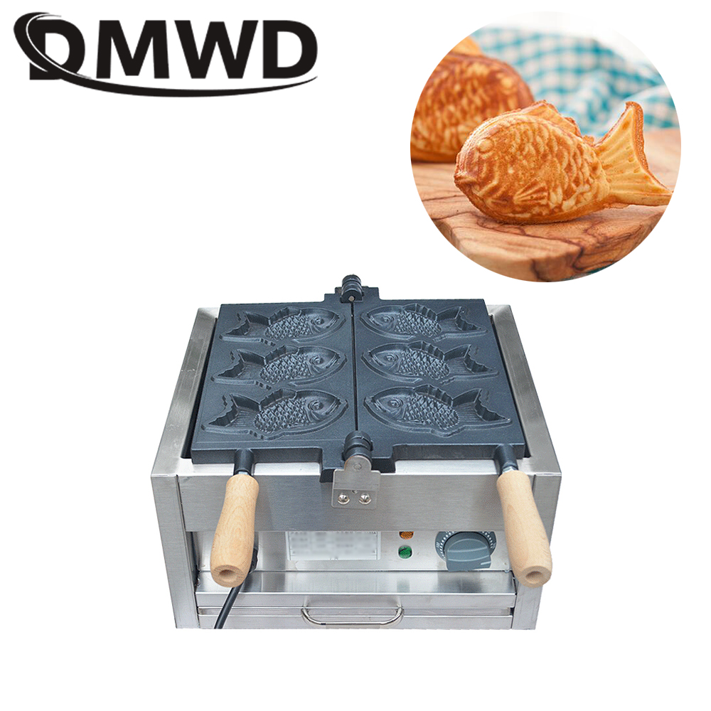 DMWD Electric Fishes Shape big fish cone Waffle Maker Commercial Open Mouth ice cream taiyaki Machine Muffin Iron oven 110V 220V 110v 220v 4pcs commercial electric non stick korean ice cream deep mouth taiyaki fish waffle maker machine for ice cream sk