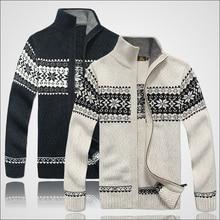 2017 Fashion Brand Thick New Men Long Sleeve Winter Sweaters Coats Jackets man 30% Wool Flower Sweater Men