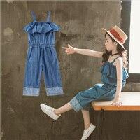 Girls Sets Summer Children Fashion Suit Clothes 2 pieces Cotton Halter denim jumpsuit pants Size 3 4 6 8 10 12 Years Girls