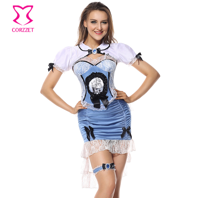 Corzzet Blue&White Satin Overbust Corset and Jacket Fancy Dress Adult Alice Costume Carnival Party Cospaly Uniform