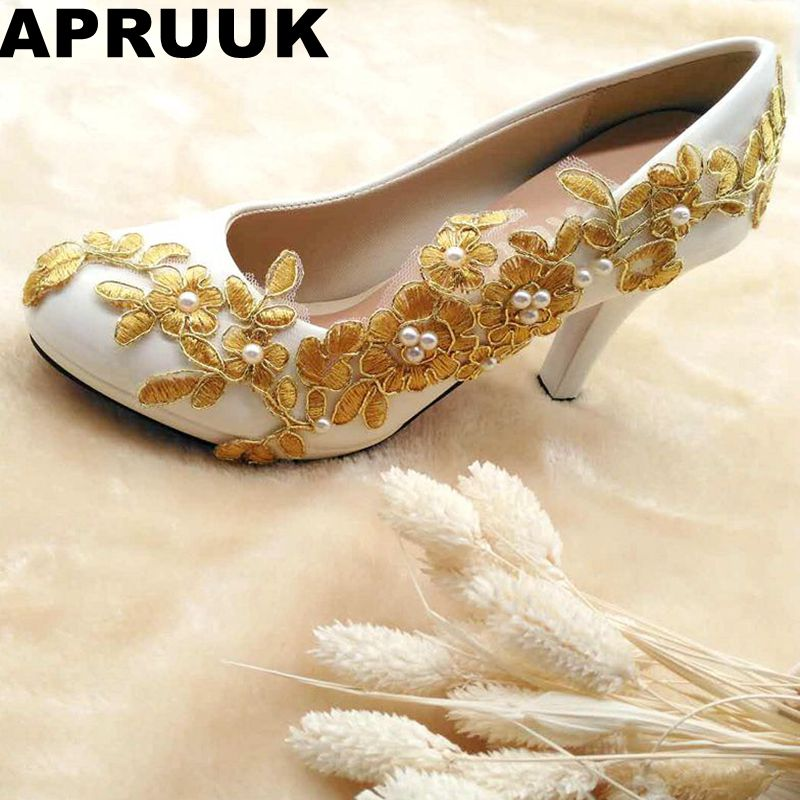 Gold lace wedding shoes woman handmade round toes spike heeled bridal shoes lady female evening party dinner shoes plus sizes extra large plus sizes 41 42 43 flats wedding lace shoes womens female woman bridal flat heel wedding flats shoes large sizes