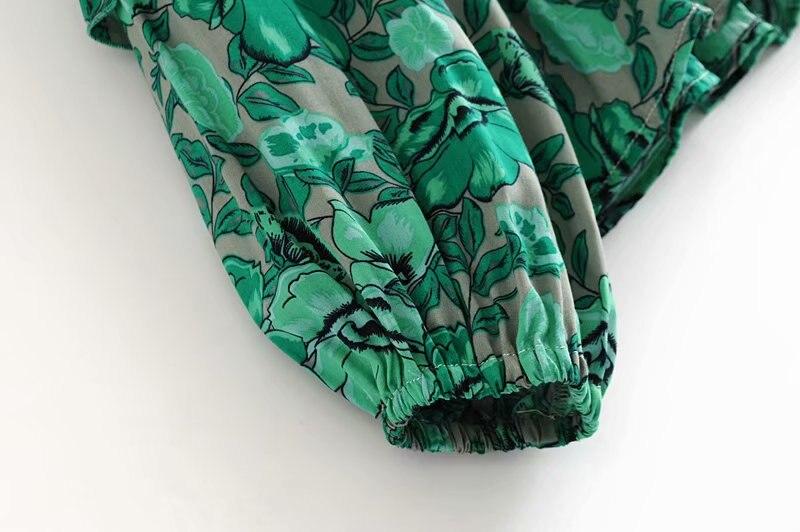 00c649ae9473 2019 Boho Summer Beach Tops Vintage Floral Print Ruffles Blouses ...