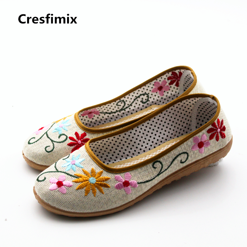 Cresfimix women cute spring & summer slip on flat shoes with floral print lady casual flower comfortable shoes zapatos de mujer cresfimix zapatos de mujer women casual spring
