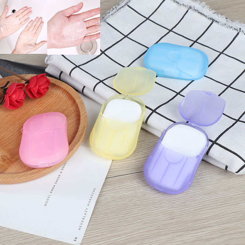Hot Sale Portable Travel Soap Scented Slice Sheets 20pcs/1box Outdoor Paper Washing Hand Bath Clean