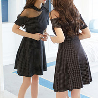 Sexy black summer dress mesh patchwork halter hollow neck mini dresses sexy female high waist fit and flare full dress slim lady