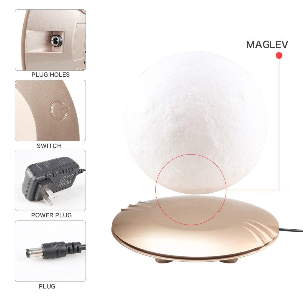 Lámpara de Luna impresa en 3D levitando 7 colores que cambian la luz LED de la noche para la decoración de Navidad del hogar Envío Directo # - 5