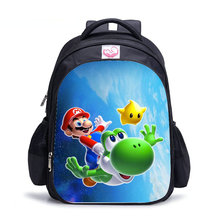 16 cal Cartoon Super Mario Bros Sonic Hedgehog dzieci plecak tornister chłopców i dziewcząt ortopedyczne plecak Mochila Escolar tanie tanio Torby szkolne 42cm Nylon Delune Animal prints 0 4kg Unisex boys school bag 32cm zipper 17cm