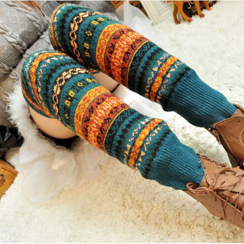 WEIXINBUY Women Winter Elegant Over Knee Long  Knit cover Patchwork Colorful Ladies Crochet Vintage Leg Warmers Legging Chic 5
