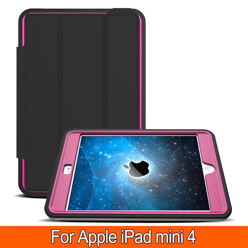 Leather+Hybrid Hard Plastic Heavy Duty Shockproof Dual Layer Rugged Armor Back Cover Case For Apple iPad mini 4 7.9 inch