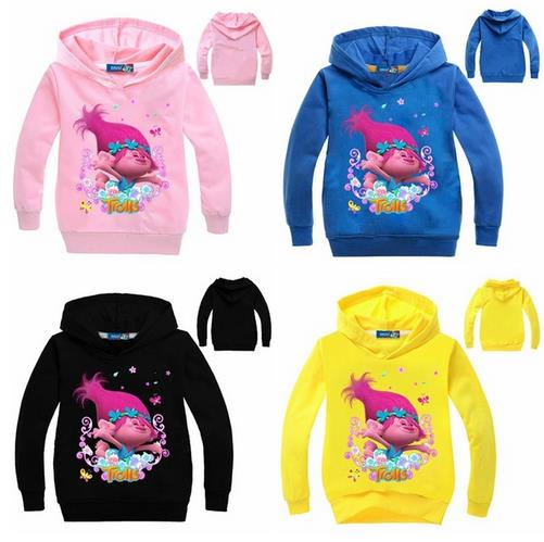 NEW Spring Children's Sweatshirt Long Sleeve Cotton Tees Trolls T-shirt Hoodies For Girls Sweatshirt The Good Trolls Clothing