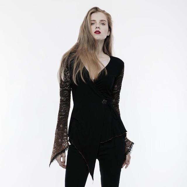 Sexy Lace T Shirt Women Gothic Cotton Thin Tshirt Coffee Modal V-Neck T-shirt for Women Lady Tops Clothing