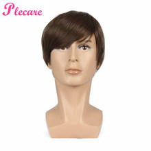Plecare 2 Colours 6 Inches Brown/Silver Ombre Striaght Synthetische Cosplay Wigs Pruik voor Mannen Mannelijke Haar Synthetic Wig(China)