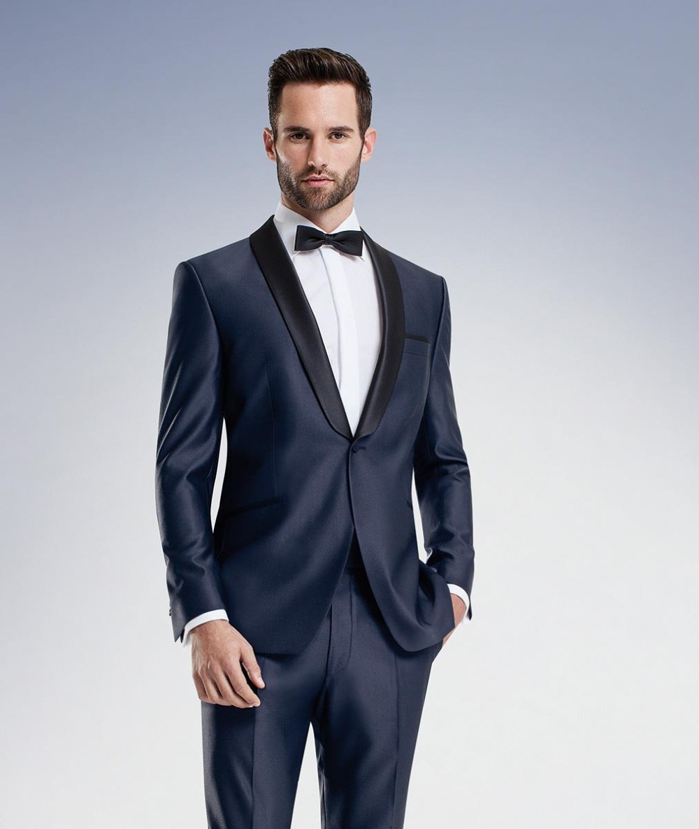 Midnight Blue Wedding Suits Mens Suit Slim Fit 2017 Groom Tuxedos Groomsmen Suit Jacket+Pants+Tie Two Pieces Suit One Button