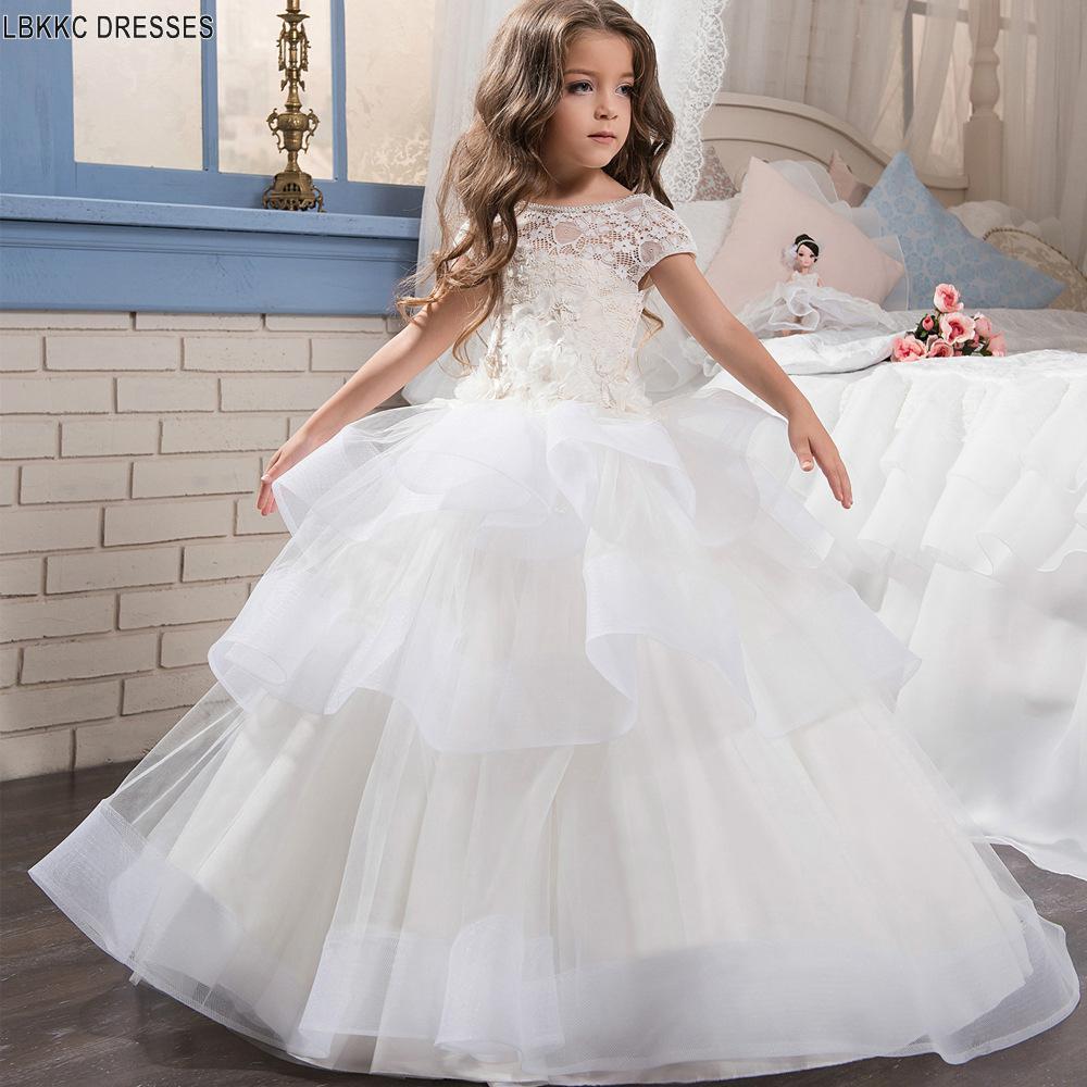 Ball Gown   Flower     Girl     Dress   Backless 2019 Off White   Girls   Communion   Dresses   White-first-communion-  dresses   Robe De Bal Enfant