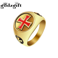 Godzgift Mens Fashion Red Kreuz Trendsetter Ring Geschenke Männer  Geburtstag Party Hochzeit Finger Ring Nagel Ringe Schmuck Neue. 729c37b8d3