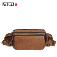 AETOO Leather goods Europe and the United States retro men pockets genuine leather Messenger bag crazy horse skin waist