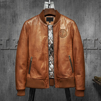 Men's Leather Jacket American Flag Embroidery Retro Baseball Jacket 100% Sheepskin Casual Motorcycle Jacket