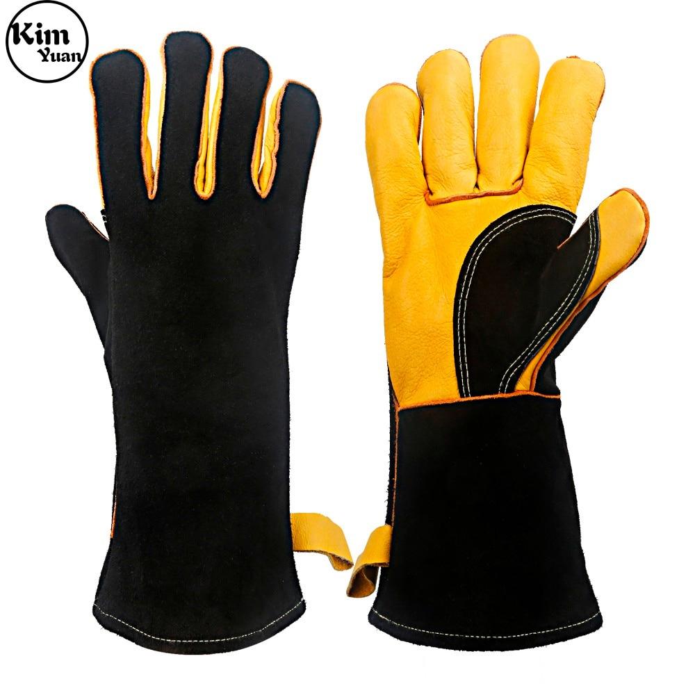 KIM YUAN 040 gants de soudage en cuir-résistant à la chaleur/au feu, pour soudeur/four/cheminée/manipulation des animaux/BBQ-marron 14in