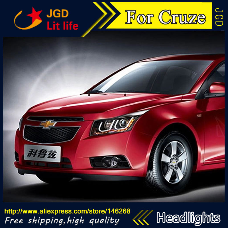 Free shipping ! Car styling LED HID Rio LED headlights Head Lamp case for Chevrolet Cruze 2009-2013 Cruze Bi-Xenon Lens low beam