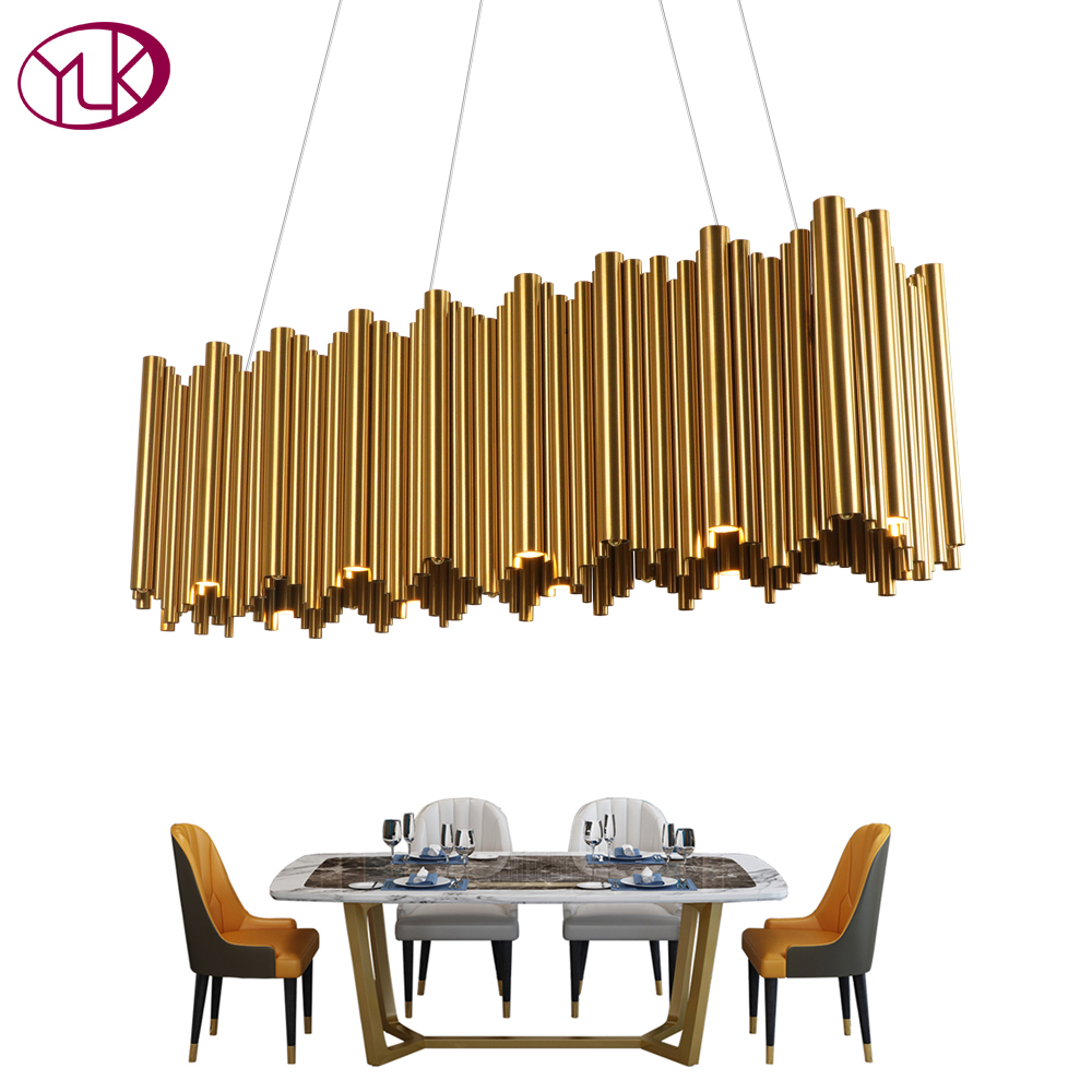 Youlaike Modern Luxury LED Chandelier Lighting Gold Stainless Steel Lamp Rectangle Dining Room Kitchen Hang LED