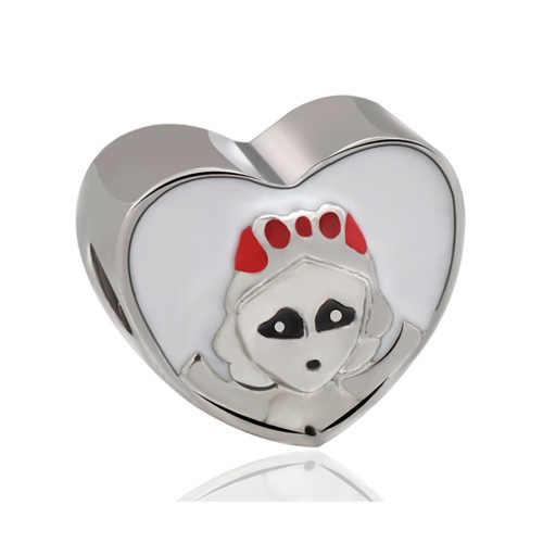 Punk เงินขนาดเล็กสีเคลือบ Mickey Donald Duck Queen หัวรถไฟลูกปัด Pandora Charms สร้อยข้อมือเครื่องประดับ Bijoux DIY