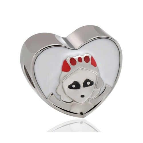 Punk pequena cor de prata esmalte mickey pato donald rainha cabeça trem contas caber pandora encantos pulseiras fazendo jóias bijoux diy