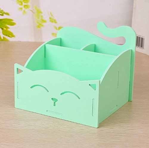 Green DIY Cute PVC Cat Desktop Organizer Home/Office Supplies Storage Holder Decor for Pen/Pencil/Remote Controller/Glasses