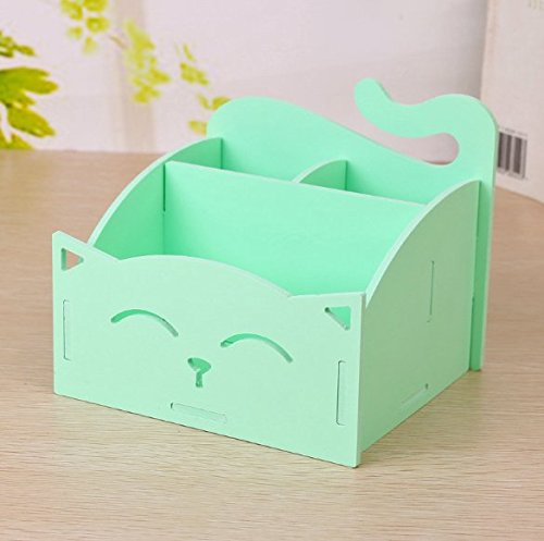 Green Diy Cute Pvc Cat Desktop Organizer Home Office Supplies Storage Holder Decor For Pen Pencil Remote Controller Gles In Stationery From