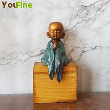 Bronze Buddha Sculpture Zen Small Shami Hotel Villa Furniture Car Decoration