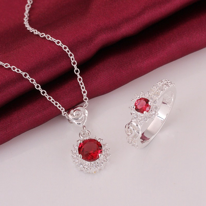 925 sterling silver jewelry 925-sterling-silver fashion jewelry red Crystal necklace&ring jewelry sets for women SS695