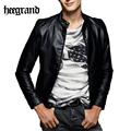 HEE GRAND Hot Spring Korean Style Man Leather Jacket Men's Mandarin Collar Motorcycle Coat Slim PU Jackets MWJ2049