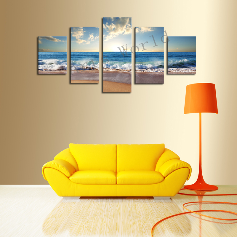 No Frame)5 Piece The Sea Beach Modern Wall Pictures For Living Room ...