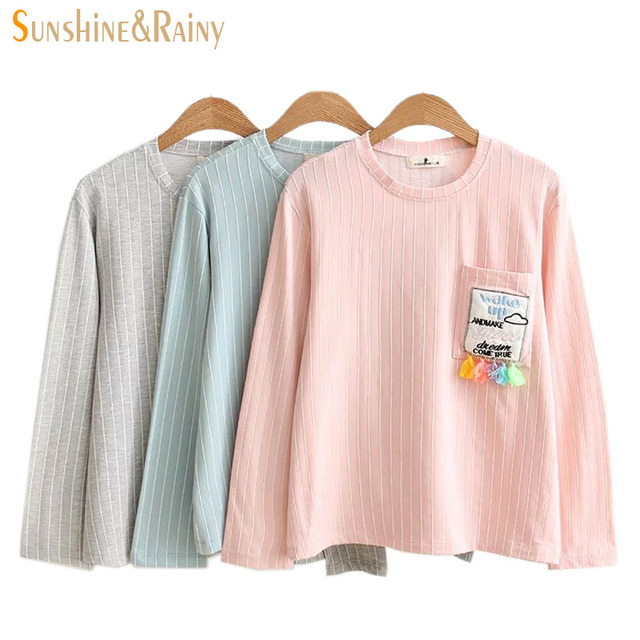 autumn winter Women stripe T-Shirt Bars Pocket Tassels Female Loose Round Neck T Shirt Clouds Embroidery Tassel Design Tops