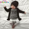 Keelorn 2017 bebé ropa bebé ropa conjuntos de algodón Carta de manga larga t-shirt + pants del bebé Recién Nacido ropa de las muchachas fija