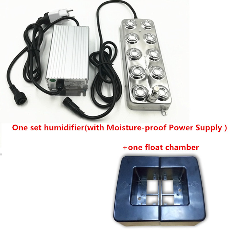 10 Head 5Kg/H Ultrasonic Mist Maker Fogger Industry One Set Humidifier +One Float Chamber With Moisture-Proof Power Supply