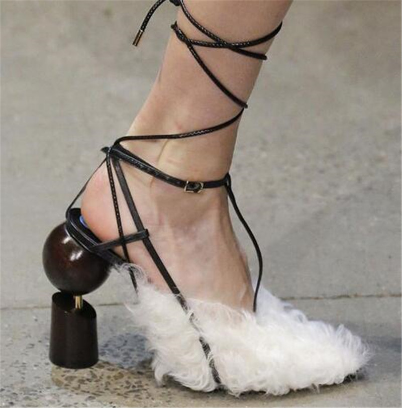 New Design Women Fashion Fur Feather Ball Screws Chunk Heel Pumps Lace-up Strap Cross High Heels Strange Heel Shoes Dress Shoes xs809w refit models xs809 shark foldable selfie rc drone with camera altitude hold fpv quadcopter wifi app control rc helicopter