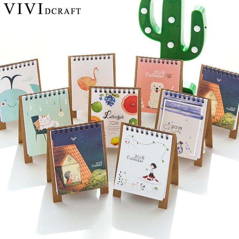 Vividcraft Calendar 2018 Cute Cartoon Characters Desktop Paper Calendar Dual Daily Sched ...